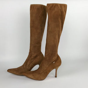 Escada Tan Suede Pull On Tall Heeled Boots Size 9